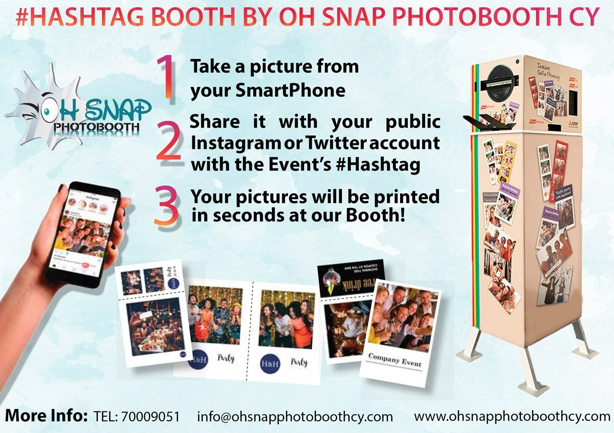 hashtag booth by oh snap photobooth cyprus